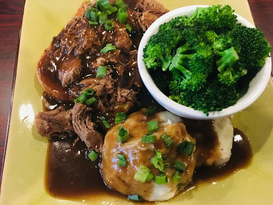 Plainwell, MI: Open Face Hot Roast Beef Sandwich with Mashed Red Potatoes and Broccoli.