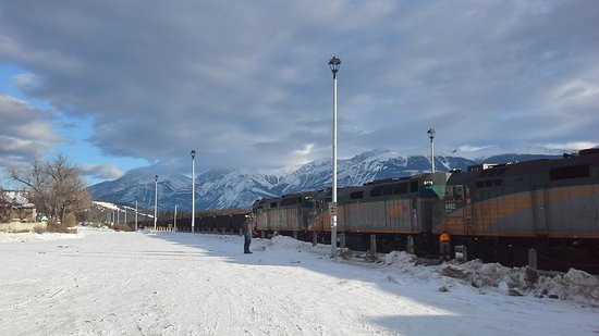 The Canadian Locos at Jasper one of the few stations with wi fi facility