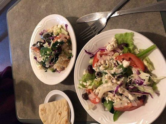 Marshall, MO:  - Greek Salad, Grape Leaves over Rice.