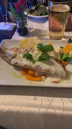 บาเบนเฮาเซน, เยอรมนี: Gegrilltes Zanderfilet auf Zitronensouce mit Salzkartoffeln