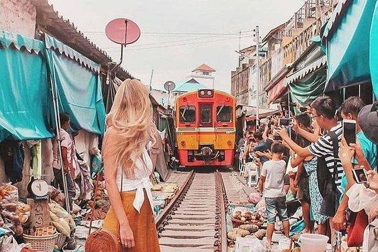 Maeklong Railway & Floating Market Tour (privat og alt inkludert)