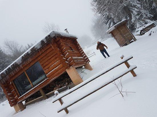 Saxel, France: Week-end aventure!  Petit séjour isolé en pleine nature, avec un cadre et une vue imprenable sur le lac LEMAN. Nous avons en plus la chance d'avoir de la neige. Nous remercions Luduvic qui a été au top avec nous et très sympathique et de bon conseil. À faire!!👍