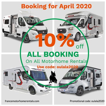 Le Lonzac, Франция: To celebrate the launch of Oulala France Motorhome Rentals we're offering everyone the chance to enjoy a massive 10% OFF their first booking!*  YES – 10% OFF! So, whether you're planning a romantic getaway, a family holiday, an adventure with friends or you just want to explore the beauty of France – don't miss out on our exciting launch special offer.  This offer is only available for a limited time, so book your trip today!  You can follow one of our thoroughly researched and carefully pl