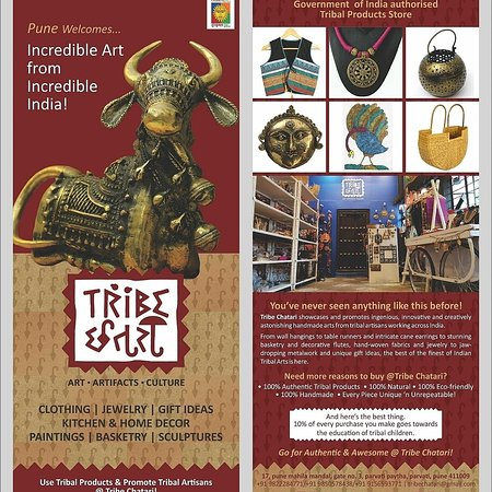 Tribe Chatari - Authorised shop of Government of India - franchise of Tribes India - Ministry Of Tribal Affairs India. 17, Pune Mahila mandal Building Gate no 3 .Opposite Shani Mandir Parvati.Pune 411009 Time 11 to 8.30 pm daily . ( Monday closed ) Parvati Temple