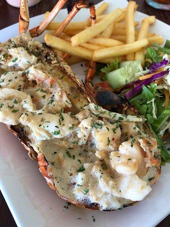 Saint Mary Parish, Antigua: Half Lobster with fries and salad