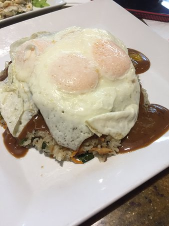 Loco moco fried rice with extra eggs