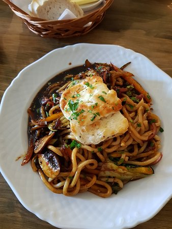 Halloumi sweet chilli stir fry, was really super tasty, I couldn't eat it all there was so much, really really good and yummy.