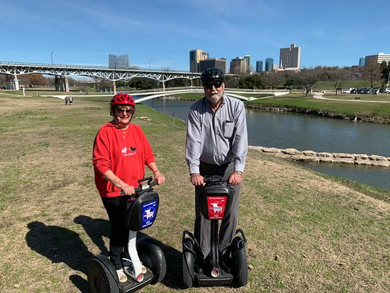 Fort Worth, TX: The day warmed up so much we shed our jackets!  Beautiful ride down by the Trinity River with Ft. Worth skyline in the background.