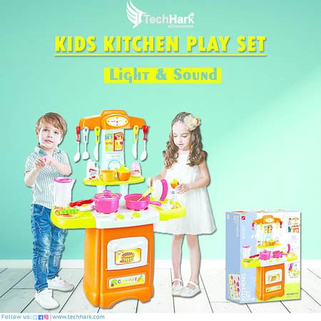 Techhark Little Chef Kids Kitchen Play Set With Light Soundt Is All That The Children Need To Cook In Their Own Pretend Play Kitchen Set It Contains Cookware Set And Other