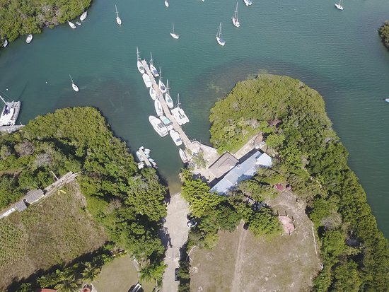 Luperon, República Dominicana: Aerial picture of the hotel, restaurant and marina in the Bay which is one of the safest hurricane anchorages in the world and a natural mangrove harbor to many species.