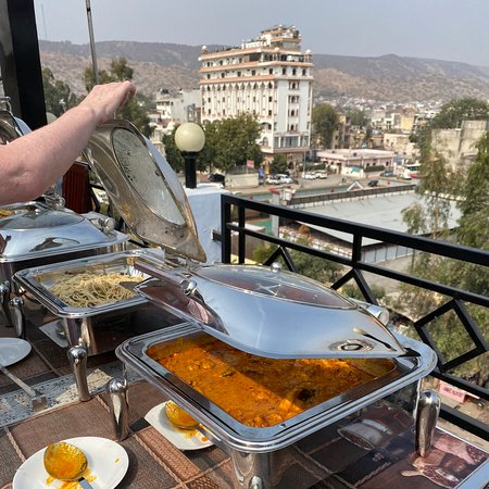 Good buffet on lovely rooftop