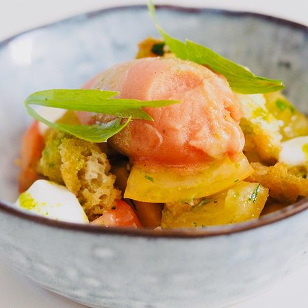 Heritage tomato salad, Bloody Mary sorbet and sourdough.