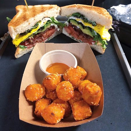 BLT with fried egg, avocado and sweet potato tots