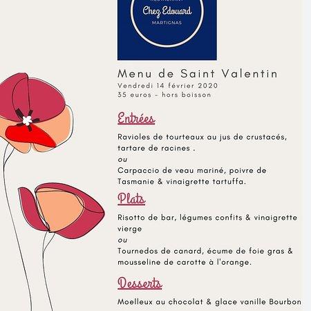 Martignas-Sur-Jalle, France: Menu pour la Saint Valentin 2020. Bonne fête aux amoureux ❤