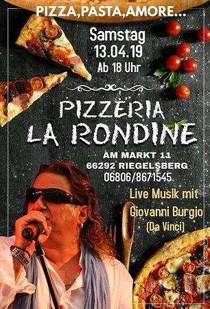 Riegelsberg, Germany: Live Musik mit Giovanni burgio / Band da Vinci / live Musik zu genießen 😊. Reservierung ist möglich.