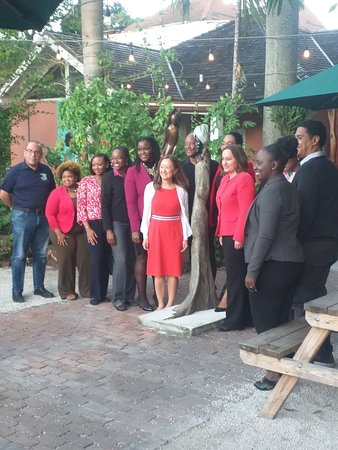 The US Embassy meeting with young business owners in the Bahamas.