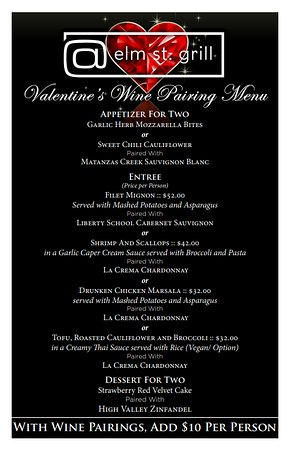 Valentine Special Dinner Menu for Valentine Day, February 14, 2020 starting at 5:00 pm, we will serve regular menu that weekend for Saturday & Sunday for Dinner, Reserve...for any Questions, please text- (336) 413- 6096