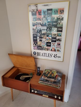 Neat record player in the common room