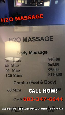 Here at H2O Massage, we provide to you traditional Asian Massage therapy that will ease your sore muscles, stiff necks, and other aches you may be experiencing!We are proud to be providing Authentic Asian Massage therapy services in our beloved community of Bedford, Texas! You can call today to schedule an appointment with one of our massage experts or feel free to walk-in where we are ready to help anyone in need of luxury Asian massage!