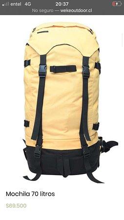 Tegualda, Чили: Esta es una mochila de 70 litros hechos por nosotras en cordura, es de montaña 500 denier.