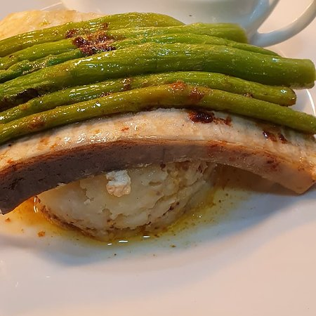 Chefs specials  Chefs has been busy in the kitchen  Pan fried swordfish, mustard mash potato, asparagus, served with mushroom and chilli sauce