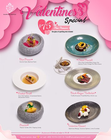 Valentine's menu for 14 Feb, 2020