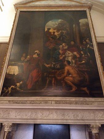 Schilderij van Govert Flinck in de vroegere gemeentezaal. Aan de overzijde van de zaal is een eveneens prachtig schilderij van Ferdinand Bol te zien.