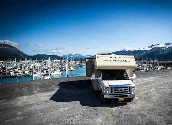 RV Rental parked in Seward Alaska
