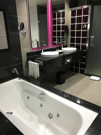 The bathroom with the curtain