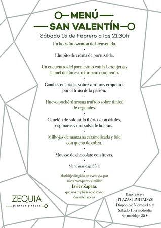 Sorprende a tu San Valentín en ZEQUIA. Plazas limitadas. Haz tu reserva en el 968168868