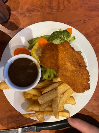 Chicken Schnitzel with Pepper Sauce on Side