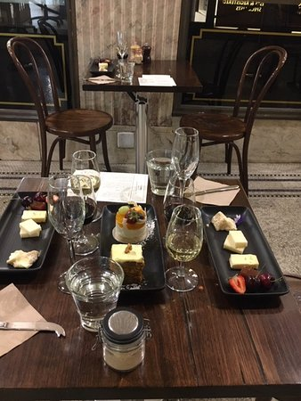 Snacks at the start of cheese and wine tour.