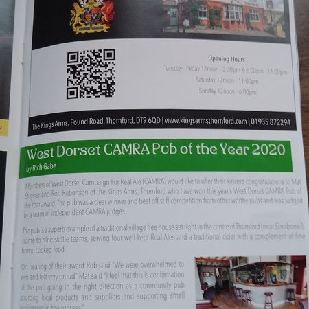 Thornford, UK: Proud winners of West Dorset CAMRA pub of the year 2020