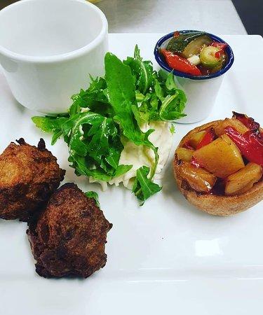 Vegetarian falafel  Celeriac remoulade  Apple and red pepper Yorkshire pudding