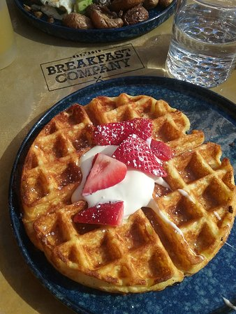 those strawberries were fresh and the waffle was light and fluffy