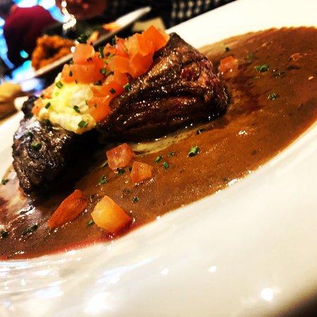 Bavette de bœuf au St Felicien sauce aux poivres