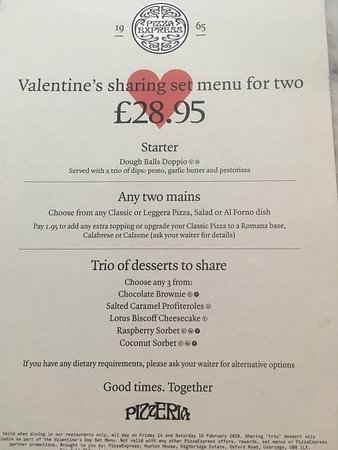 Our Valentines Day menu!