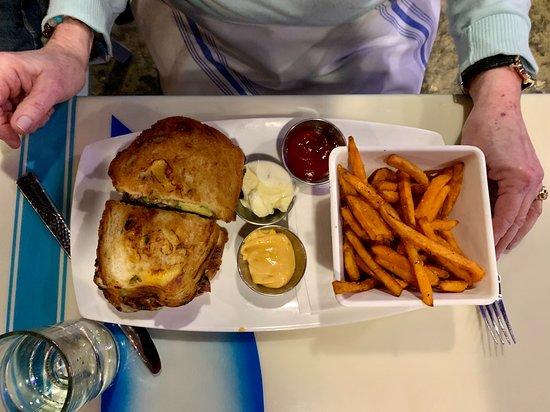Urbana, MD: Grilled Chicken w/avocado, spicy aioli on jalapeño cheddar bread.