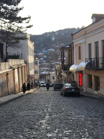 Kakheti wine region full day tour from Tbilisi: Cobblestone streets at Sighnaghi. Walking through Sighnaghi, might feel like in Italy. The architecture is pretty similar to small Italian towns.