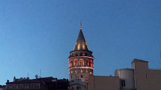 Stunning view of the Galata Tower from my private terrace. The Galata Hotel Istanbul M Gallery.