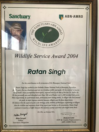 The owner Ratan Singh has been awarded for his Wildlife conservation efforts