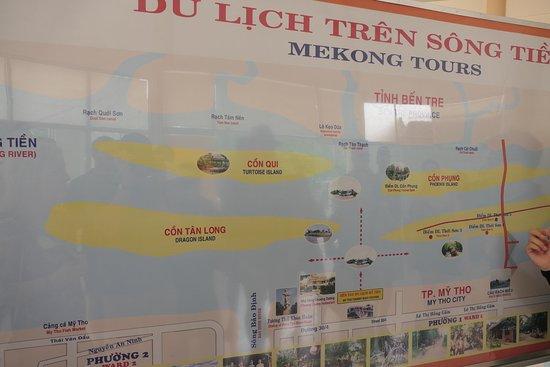 De startplaats van de boot in de Mekongdelta met de vier eilanden