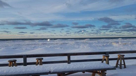"Eagle River, MI: looking through the windows to the ""beach"""