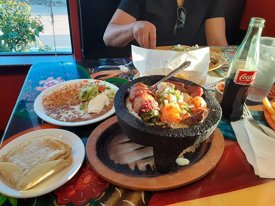 Durham, CA: Molcajete served VERY HOT (just temperature, mildly spicy) but delicious!