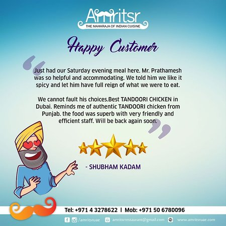 #HappyCustomerTestimonial!  Thank you for the lovely review Mr Shubham Kadam!!  Customer feedback means a lot to us. We are glad to have lived up to your #Expectations. Looking forward to your continued #Patronage.  #Amritsr #AmritsrDubai #HappyCustomer #Testimonial #Feedback #CustomerReview #Customer #HappyGuests #CustomerFeedback #DubaiFoodie #IndianFoodie #PunjabiFoodie #LovelyReview #Appreciation #AppreciationPost