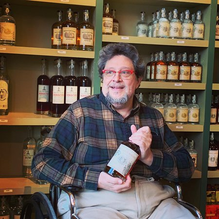 Riverside, IL: The owner, recuperating from a fall, talking about Bourbon Spring.