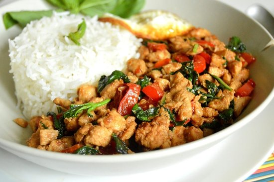 One of our signature dishes is Thai Basil Chicken. If you like spicy food, this is the ultimate dish for you.