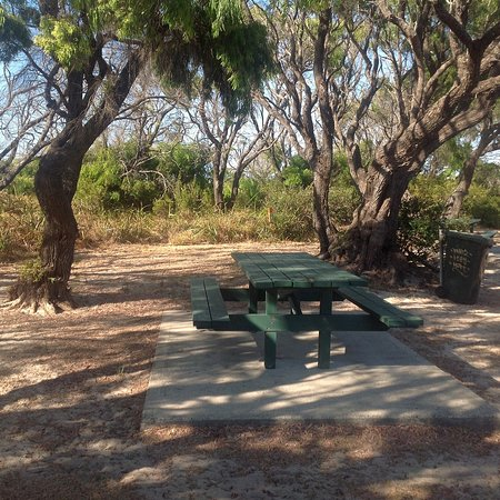 Picnic tables at Wonnerup Beach, near the Captain Baudin Reserve