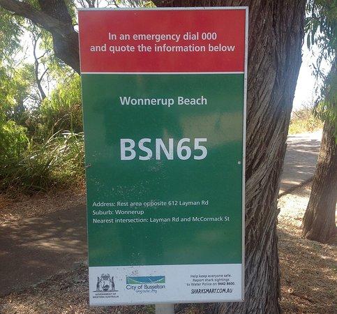 Wonnerup Beach signage