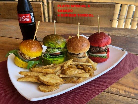 plateau speciale d'un soir. le 4burger: 1 burger poulet, 1 burger boeuf, 1 burger poisson, 1 burger vegetarien